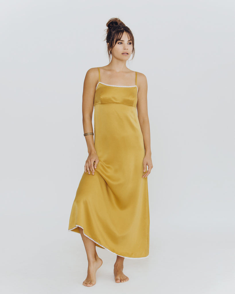 Chloe Gold Silk Gown from Morpho + Luna