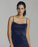 Non-adjustable spaghetti straps on the Chloe silk gown are made of the same washed silk