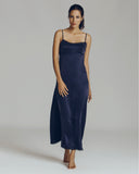 Morpho + Luna chloe midnight blue washed silk gown