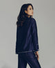 Classic Navy Morpho + Luna pajama set is constructed from a lightweight Italian cotton silk blend