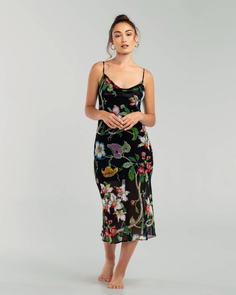 Olivia Von Halle Bibi Beatrice bias cut slip dress is crafted from semi-sheer floral silk georgette with a short opaque silk charmeuse slip built in