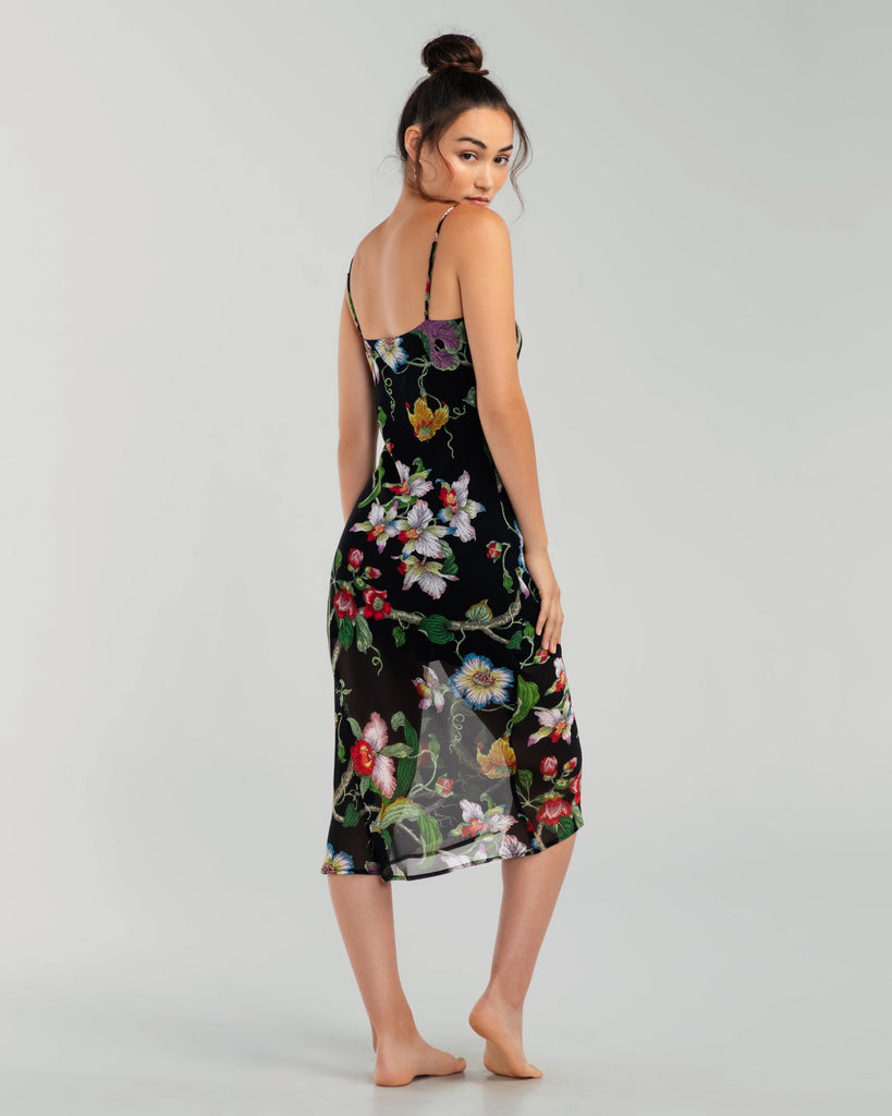 Olivia Von Halle Bibi Beatrice floral silk slipdress hits between the calf and ankle on most, depending on height and curves
