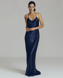 Perminova Navy Silk Gown from Olivia Von Halle
