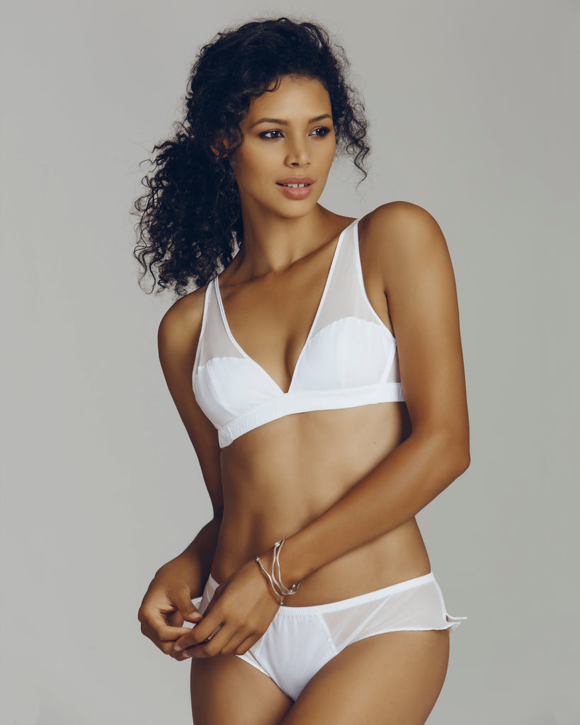 Crescent White Cotton Silk Bralette Set from Rossell England