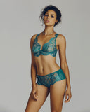 Sheer floral lace plunge bra and boy short by Valery Prestige are constructed of emerald green floral lace