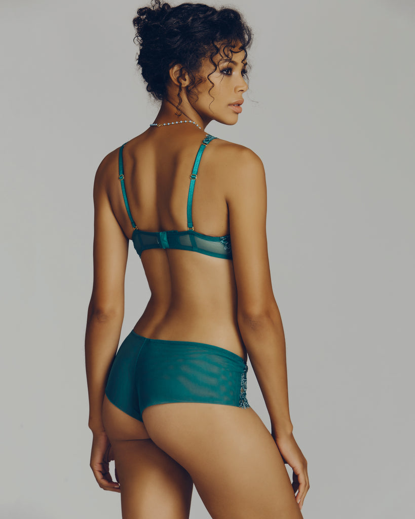 Matching boy short panty by Valery is mid-rise with a lace front and sheer mesh rear
