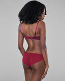 Matching bikini panty from Vannina Vesperini has a burgundy silk with matching lace front and a ruched burgundy mesh rear