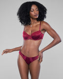 Classic lingerie set from Vannina Vesperini is crafted from burgundy silk with matching lace accents