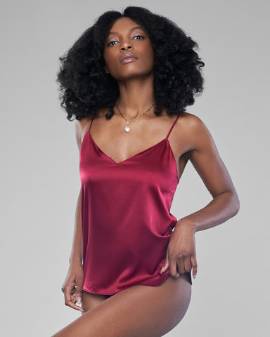 Burgundy Silk Lingerie Set