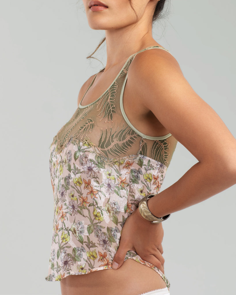 Vannina Vesperini's Vegetal camisole hits at the hip on most, with a sporty curved hemline at the front and back