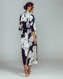 Violet & Wren's Camo Bloom robe has cuffed 3/4 sleeves and yoked back with shimmering bronze lurex trim