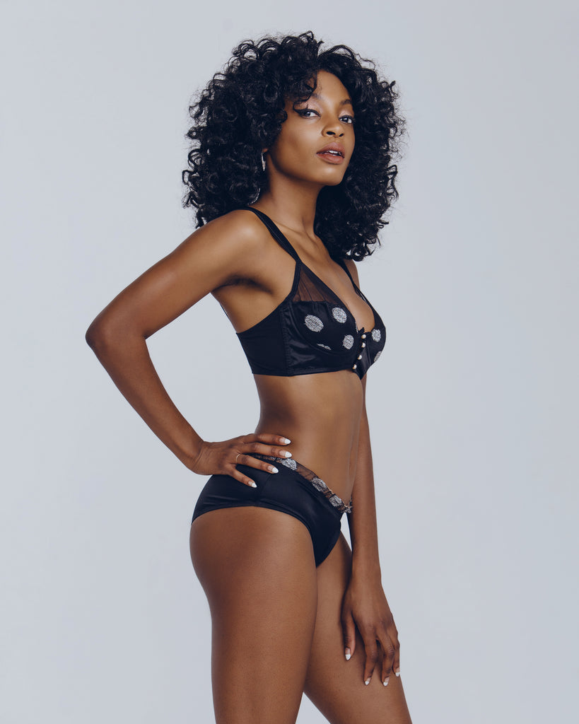 Unique bralette set from Voiment is constructed of jet black silk accented with silver lurex dots