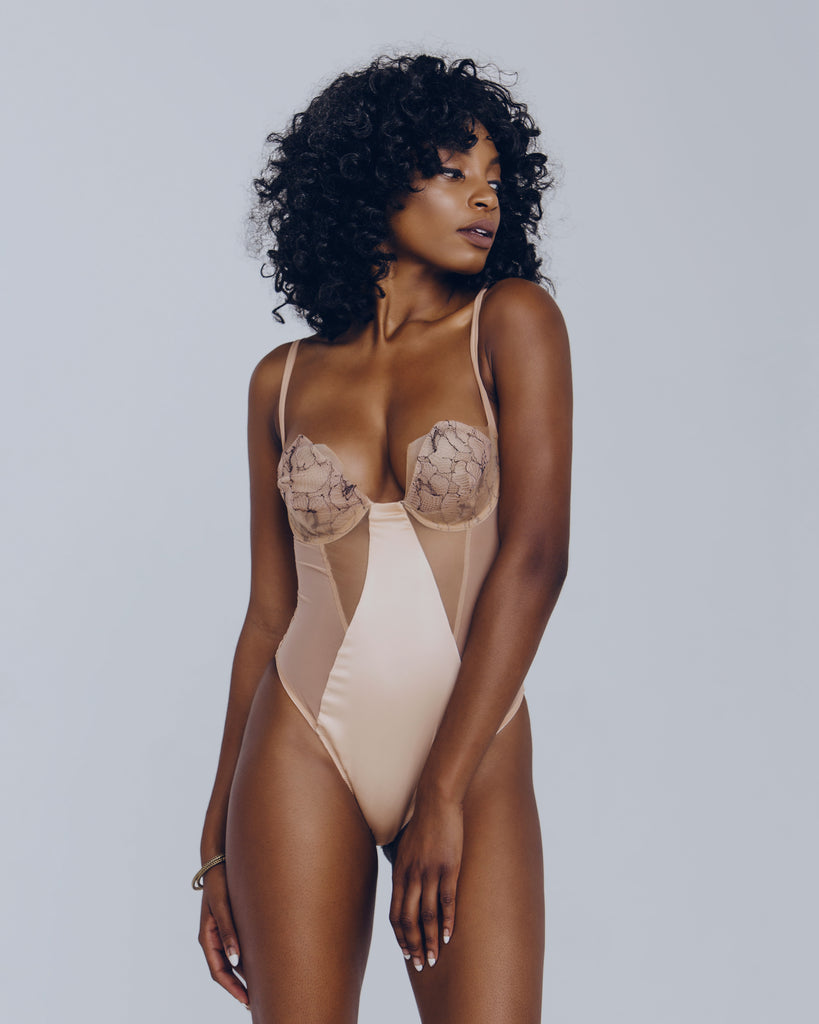 Underwired bodysuit from Voiment is made up of panels of champagne silk and mesh through the body