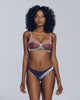Sleek bralette set from Voiment is made up of silk and tulle in shades of blue and purple