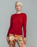 Zynni Cashmere Sienna Red Superfine Cashmere Crewneck Sweater