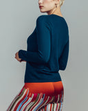 Superfine knit cashmere sweater from Zynni is crafted in a deep teal