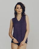 Purple Cashmere V-Neck Sleeveless Shell from Zynni