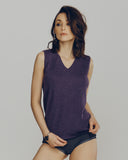 Purple Cashmere V-Neck Sleeveless Shell