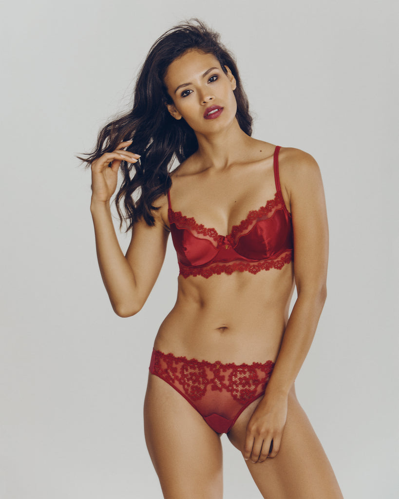 Ermitage Red Silk Balconette Set from Ritratti