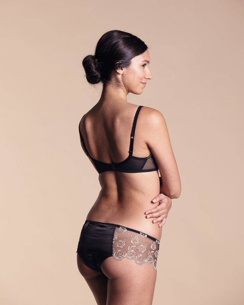 Matching boxer from Sybaris is slim and sexy, with a cotton-lined silk gusset and sheer lace panels at the sides