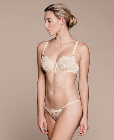 Greta Yellow Silk Bandeau Set