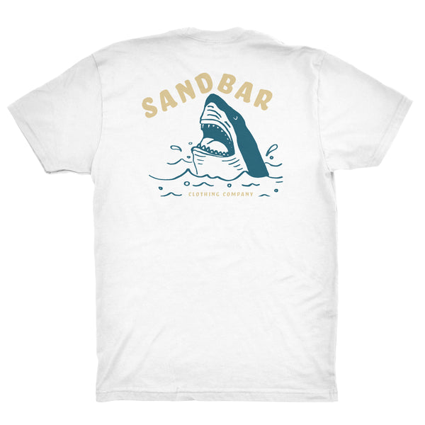 Sandbar Clothing Shark Breach White T-shirt