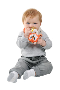 Buddy Bib - Felix Fox is a detachable, 3-in-1 sensory teething toy and bib.  The 100% food-grade silicone teether is attached to a plush toy and soft absorbent bib.   Great for reliving baby's teething pain.