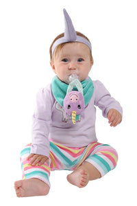 Buddy Bib - Unice Unicorn Buddy Bib is a detachable, 3-in-1 sensory teething toy and bib.  The 100% food-grade silicone teether is attached to a plush toy and soft absorbent bib.   Great for reliving baby's teething pain.