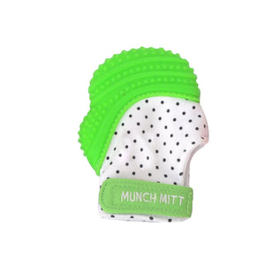 green polka dots MUNCH MITT THE ORIGINAL MOM INVENTED HAND HELD TEETHER.  100% FOOD-GRADE SILICONE. HELPS BABY WITH SELF SOOTHING