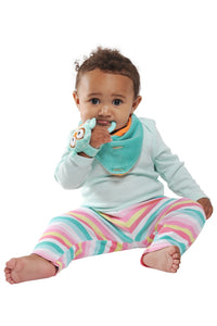 MUNCH MITT THE ORIGINAL MOM INVENTED HAND HELD TEETHER.  100% FOOD-GRADE SILICONE. HELPS BABY WITH SELF SOOTHING. The Buddy Bib is a detachable, 3-in-1 sensory teething toy and bib.  The 100% food-grade silicone teether is attached to a plush toy and soft absorbent bib. Our Chew Cube is the modern rattle and teether. It has soft textured corners for teething relief.  The large holes help with gripping strength while the rattle, mirror and black and white patterns create sensory stimulation.