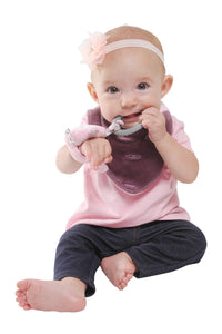 Buddy Bib - Pinky Penguin Buddy Bib is a detachable, 3-in-1 sensory teething toy and bib.  The 100% food-grade silicone teether is attached to a plush toy and soft absorbent bib.   Great for reliving baby's teething pain.