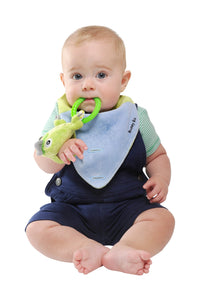 Buddy Bib- Dinosaur Bib, teether and toy in one.  The silicone teething ring relieves teething pain for teething babies.