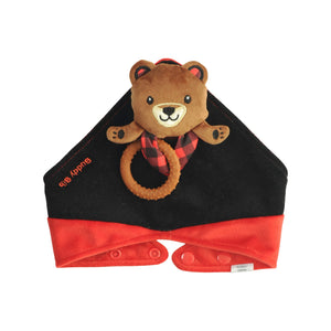 Buddy Bib- Brown Bear bib, teether and toy in one.  The silicone teething ring relieves teething pain for teething babies.