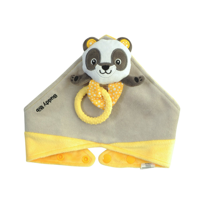 Buddy Bib - Polka Panda Buddy Bib is a detachable, 3-in-1 sensory teething toy and bib.  The 100% food-grade silicone teether is attached to a plush toy and soft absorbent bib.   Great for reliving baby's teething pain.
