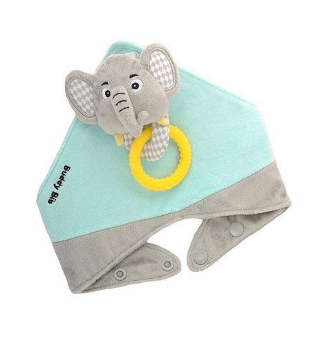 Buddy Bib - Eli Elephant-Buddy Bib-  teether and toy in one.  The silicone teething ring relieves teething pain for teething babies.