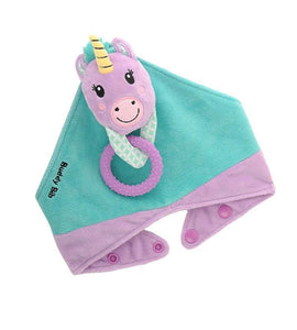 Buddy Bib - Unice Unicorn Buddy Bib - Polka is a detachable, 3-in-1 sensory teething toy and bib.  The 100% food-grade silicone teether is attached to a plush toy and soft absorbent bib.   Great for reliving baby's teething pain.