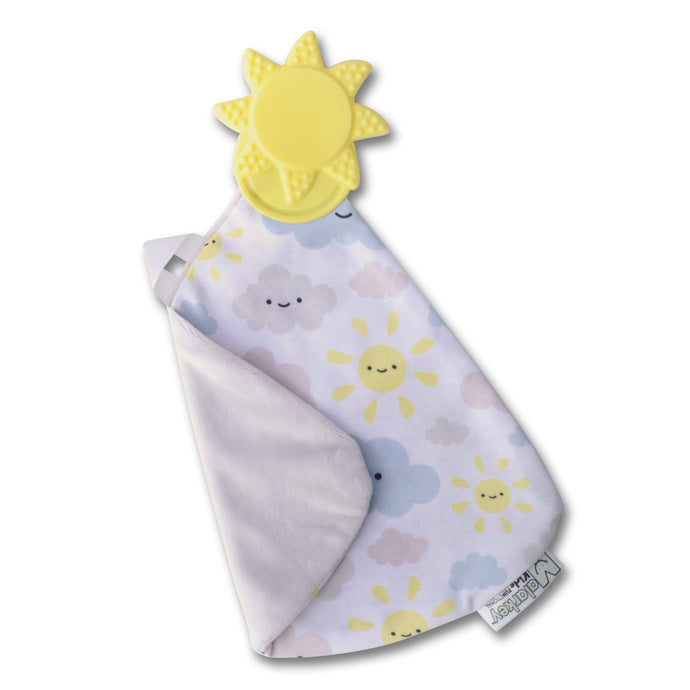 Munch-It Blanket - You Are My Sunshine -  a convenient teether and cozy blanket for baby. Designed to target baby's emerging front& eye teeth as well as early molars.  The soft blanket is perfect for snuggling and absorbing drool