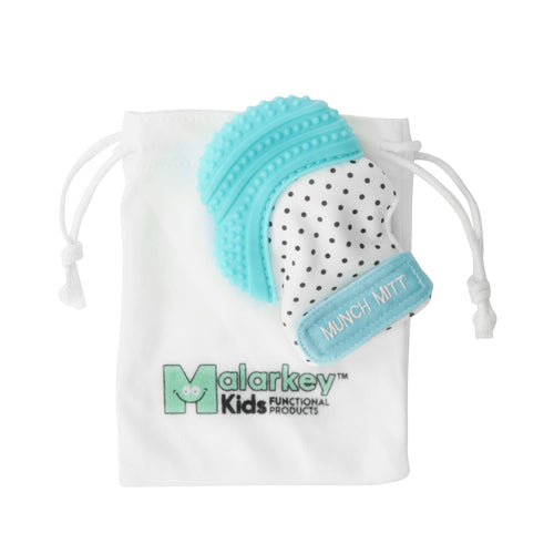 aqua xo MUNCH MITT THE ORIGINAL MOM INVENTED HAND HELD TEETHER.  100% FOOD-GRADE SILICONE. HELPS BABY WITH SELF SOOTHING