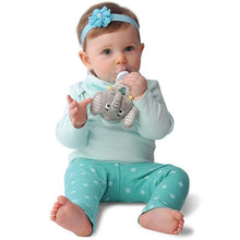 Eli the Elephant is a detachable, 3-in-1 sensory teething toy and bib.  The 100% food-grade silicone teether is attached to a plush toy and soft absorbent bib.