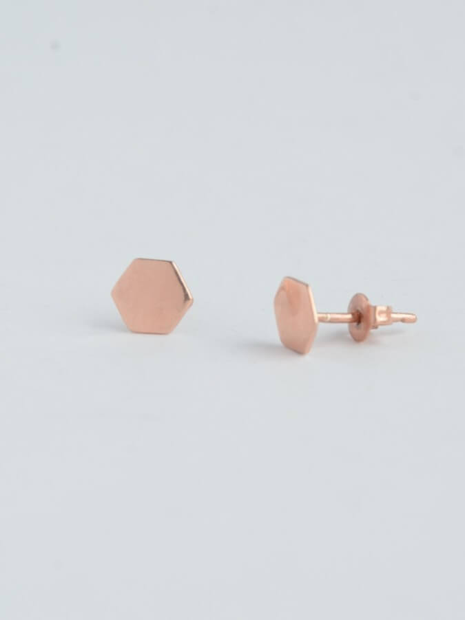 Rose Gold Hexagon Studs