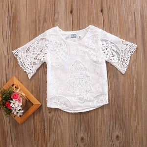 acf5705c0 New Cute Summer Newborn Infant Kids Baby Girls Outfits Clothes Lace T-shirt  Tops Summer Kids Shirt Clothing Costume