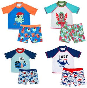faad7fedaf Baby Kids Boys Swimwear Short Sleeve Children Two Pieces Swimsuit Animal  Printed Swimming Suits Sunscreen Beach Bathing Suit