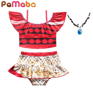 b5c9bcc08e3a6 PaMaBa Summer Baby Girl Two Pieces Moana Beach Swimwear Kids Toddler Bathing  Suit Infant Swimming Clothes Children Beach Outfit