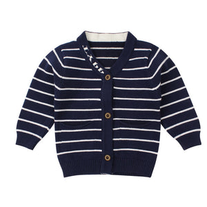 eb330ff1 Striped Cotton Baby Sweater Casual Knit Newborn Baby Cardigan Long Sleeve V-Neck  Sweater For Boy Autumn Infant Outdoor Sweaters