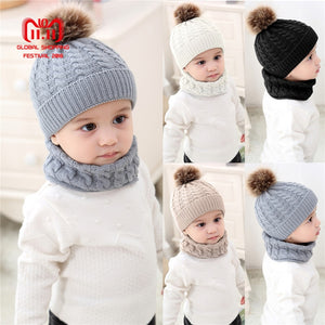 3b4f6073 Puseky 1 Set Baby Hat Scarf Winter Fur Ball Knitted Warm Newborn Beanie  Solid Color Protect Ear Cap O Ring Scarves cap bonnet