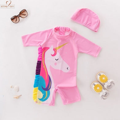 4c780f5b1bae5 Baby Girls Kids Toddlers Cartoon Horse Swimsuit Bathing Suit One piece  Swimwear swimhat Beach Wear Flamingo
