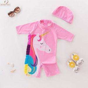 1f28082eda57 Baby Girls Kids Toddlers Cartoon Horse Swimsuit Bathing Suit One piece  Swimwear swimhat Beach Wear Flamingo octopus Swimsuit
