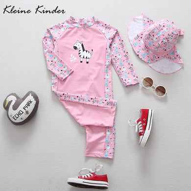 fde8ec573788 Girls Swimwear Cartoon Pony Giraffe Print Pink Baby Bathing Suit Sun Block Long  Sleeve Baby Swimsuit
