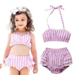 ae731d4330 Toddler Kid Baby Girls Swimwear Beachwear Summer Ruffles Stripe Two Piece  Bikini Bathing Suit Swimsuit Baby Swimming Clothing