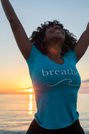 Breathe. V-Neck Giving Tee
